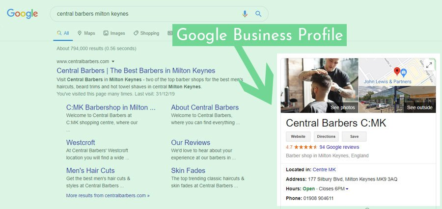 highlighting a google business profile on a google search results page